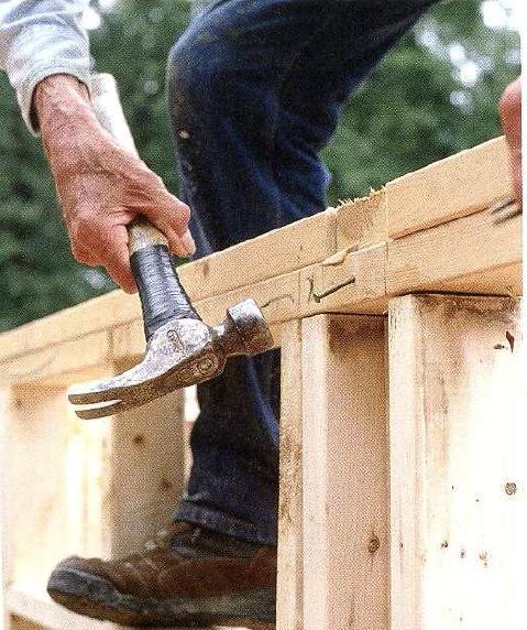 как колотить вторую верхнюю обвязку стены каркаса