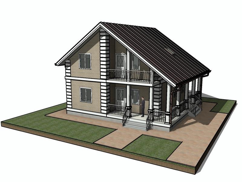 каркасный дом с балконом