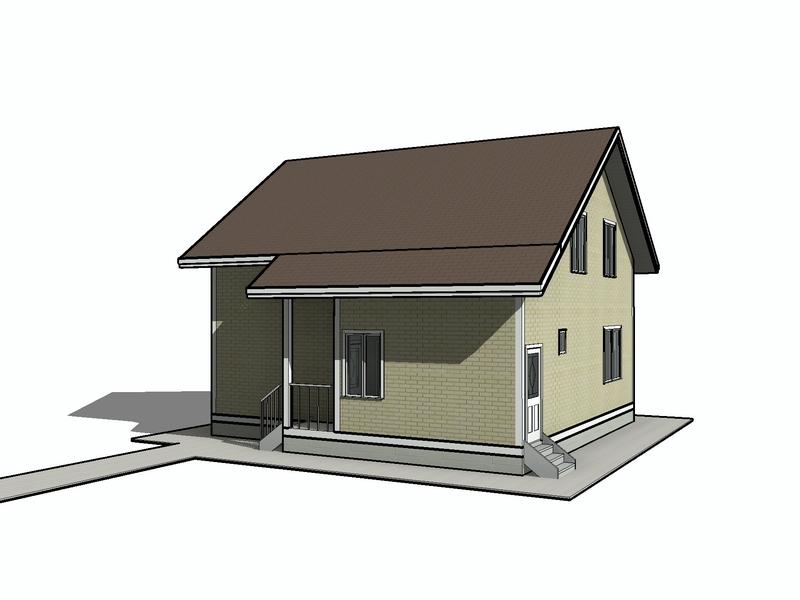 каркасный дом с большой мансардой