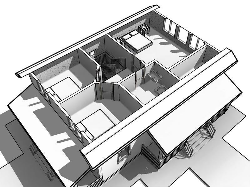 фасад каркасного домас мансардой