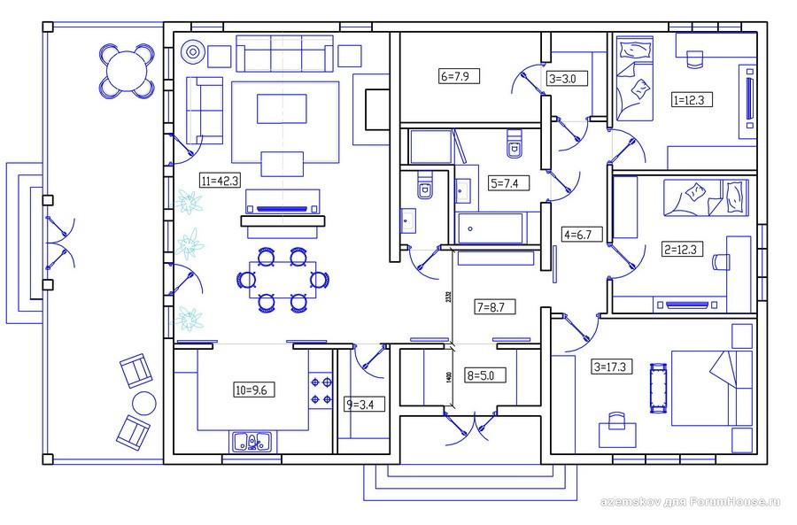 каркасный дом 1 этаж планировка (1)