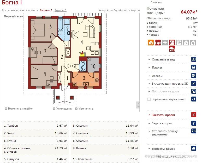 каркасный дом 1 этаж планировка (2)