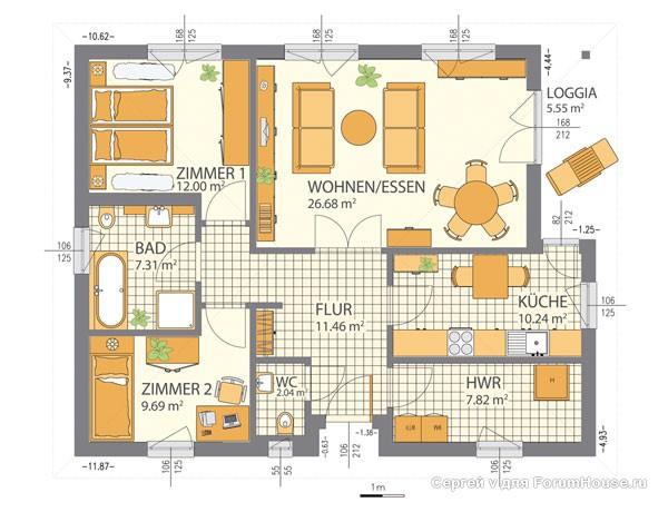 каркасный дом 1 этаж планировка (3)