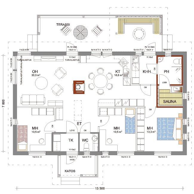 каркасный дом 1 этаж планировка (4)