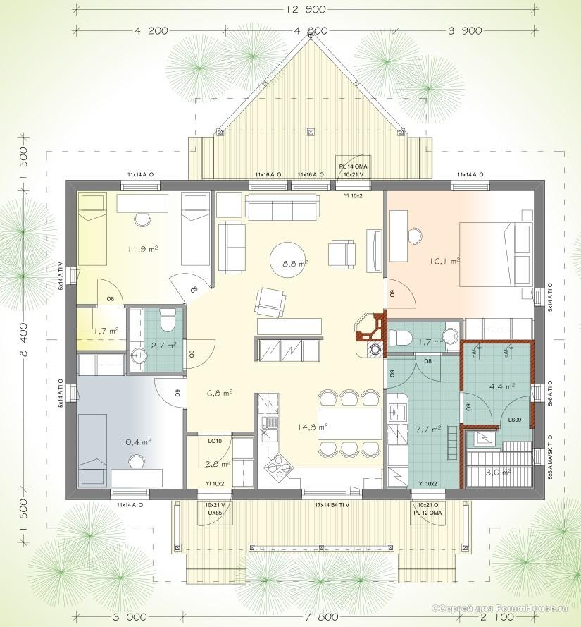 планировка одноэтажных домов (18)