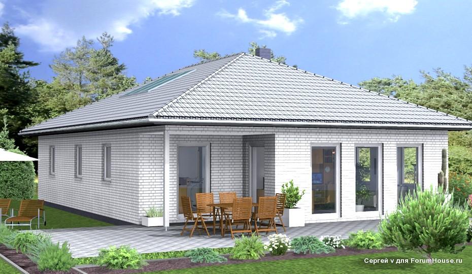 фасад одноэтажного каркасного дома (3)
