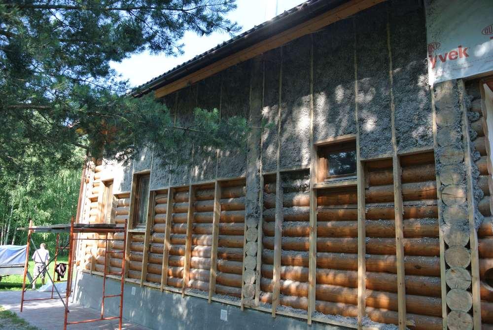 утепление бревенчатого дома эковатой