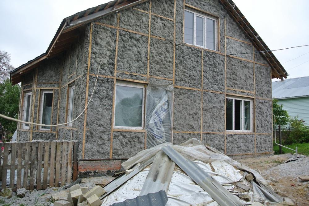 утепление эковатой снаружи каркасный дом